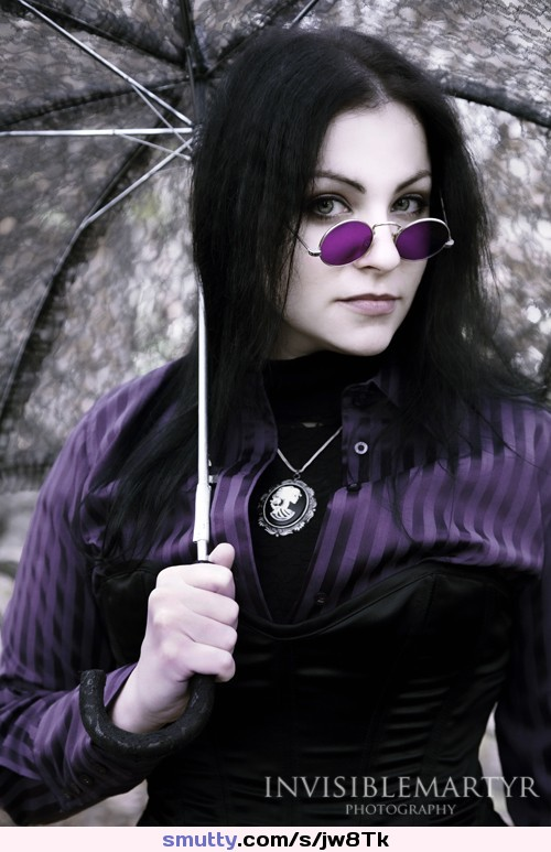 another great day in the shop #sexy .....#goth #gorgeous #corset #blackhair #glasses #umbrella #Beautiful #pale #purple ........#tele